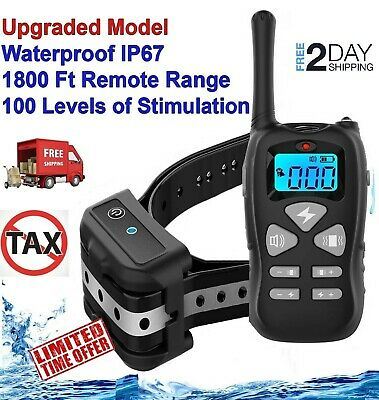 Pet Dog Training Collar Shock Electric Remote Rechargeable Waterproof 1800Ft
