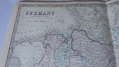 Circa 1850 Large Map Of Germany Northern Part Backed On Linen