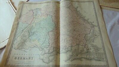 Circa 1850 Large Map Of Southern Germany Backed On Linen