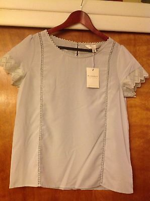 f5cb75e9a12 LC Lauren Conrad Runway Collection Gray Lace Trim Women s Blouse Top Size  Medium