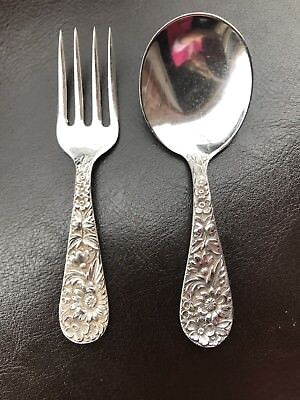"""Kirk&Son Inc REPOUSSE STERLING SILVER Baby Fork and Spoon Set L 3 3/4"""""""