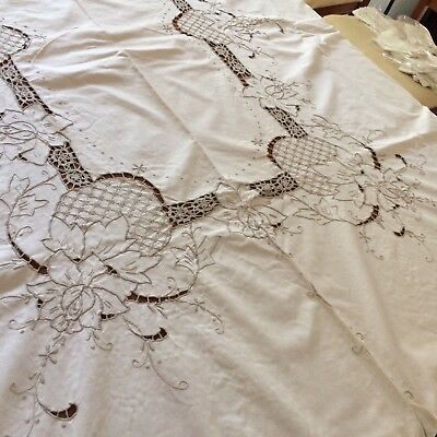 "Vtg tablecloth creamy ivory embroidered rose open work crochet lace 99x63"" chic"