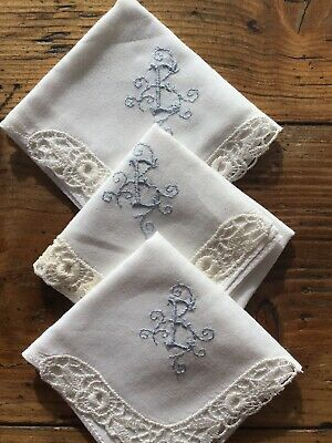 """Three Vintage ladies handkerchiefs, Monogrammed with the letter """"E"""""""