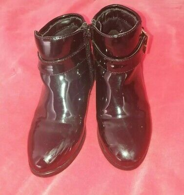 Girls Ted Baker Black Patent Leather Ankle Boots UK Size 10/28 EUR