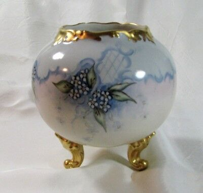 T & V Hand Painted Limoges Footed Rose Bowl, Dated and Artist Signed