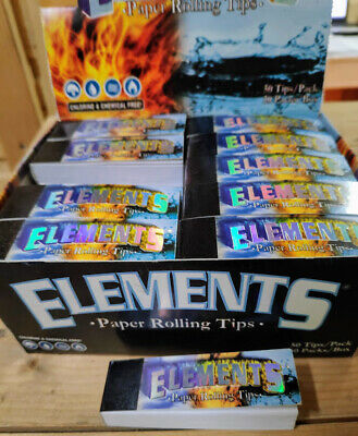 50 ELEMENTS Rolling Paper Filter Tips Natural White Unrefined 50 leaves 18*60mm