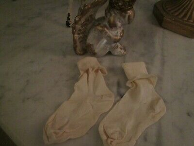 Antique 1920's White Silk Baby Socks With White Lace - EXCELLENT CONDITION