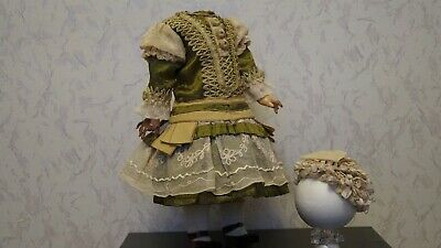 silk dress  and hat for your beautiful French  or German antique doll  .