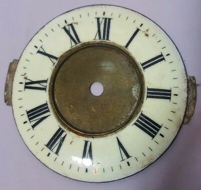 Antique / Vintage Brass & Enamel Clock Face 4""
