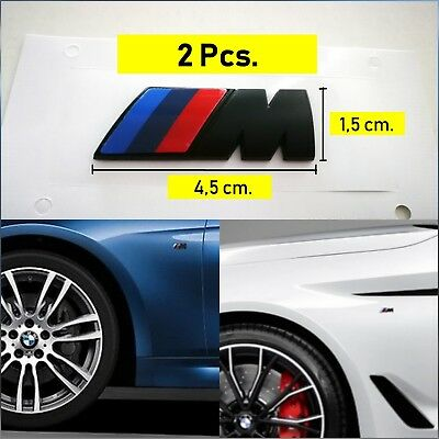 2 X Stemma Logo Badge Laterale BMW M Sport 3D Black Line 45x15mm. adesivo in ABS