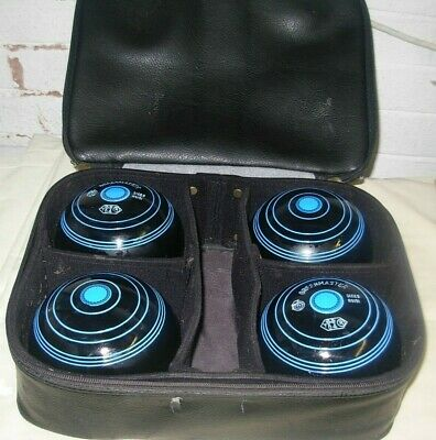 Lovely set of 4 GREENMASTER Lawn / Indoor Bowls   size 5