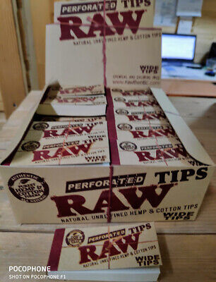 BOX of 50 RAW Rolling Paper Filter Tips Natural Brown Unrefined 50 leaves18*60mm