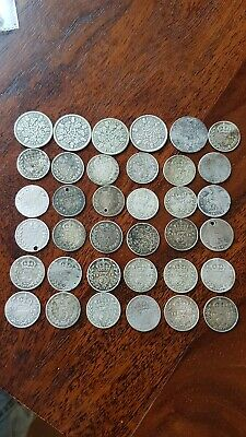 Large Collection Silver British Coins Joblot Threepence Sixpence 54Grams