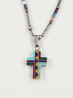 Vintage Sterling Silver Native American Multi Gemstones Cross Pendant Necklace