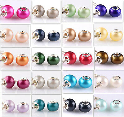 DIY 20pcs silver pearl big hole spacer beads fit Charm European Bracelet Jewelry