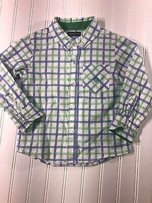 Andy And Evan Boys Green Long Sleeve Button Down Shirt Size 3 Easter