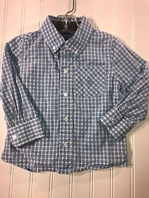 Andy And Evan Blue Plaid Long Sleeve Button Down Shirt Size 3t Easter