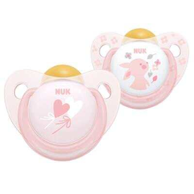 NUK Baby Rose & Blue Latex Soother Dummy Pacifier 0-6m - Baby Girl Pink 2 Pack