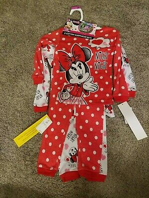 2 Disney Minnie Mouse 3T Cotton Sleep Sets. 4 pieces total. 2 tips and 2 bottoms