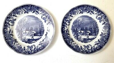 Spode WINTER'S EVE BLUE SALAD PLATE-7 7/8 INCHES-England SET OF 2 EUC