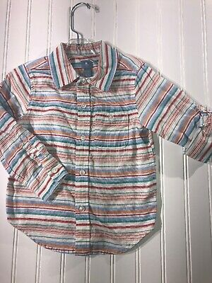 Baby Gap Boys Button Down Collared Shirt Shirt Easter Size 3t Roll Up Sleeves