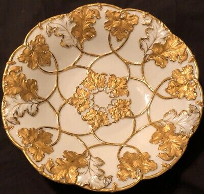 White With Gold Leaves Bowl, 19th Century Meissen