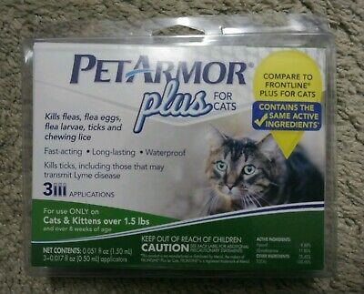 PetArmor Plus for CATS over 1.5 LBS, Flea & Tick Treatment & Waterproof, 3 PACK
