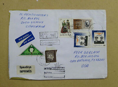 Lithuania - Large 1997 Registered Cover Sent to USA
