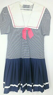 Vintage 14 Girls Miss Victoria Blue White Sailor Dress Conservative Short Sleeve