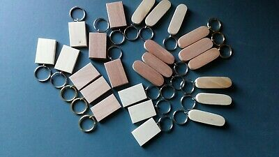 KEYRING BLANKS-SYCAMORE-HARDWOOD-pyrograph,paint or engrave-12 in pack £5.40+car