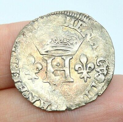 France 1/4 Ecu 16/17Th Century Old Silver Coin Henry