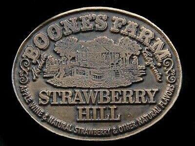 RK07133 VINTAGE 1970s **BOONE'S FARM STARWBERRY HILL** ADVERTISEMENT BELT BUCKLE