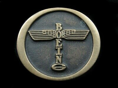 RK07147 VINTAGE 1970s **BOEING** AIRCRAFT COMPANY SOLID BRONZE BELT BUCKLE