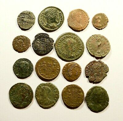 Lot Of 16 Imperial Roman Bronze Coins For Identifying - 22