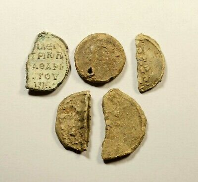 Ancient Byzantine Period Lead Seal Fragments - Lot Of 5