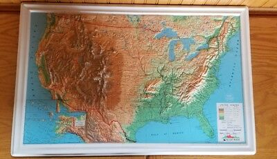 Relief Map Of United States.Vintage Nystrom Raised Relief Map United States Old Retro Nr1b Lot