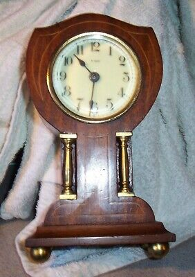 Clock parts, Mantle clock, brass pillars, Mahogany mantle clock