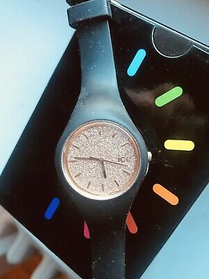 ffa24dc71f6fe Ice-Watch - Ice Glitter Black Rose-Gold - Montre Noire Femme taille small