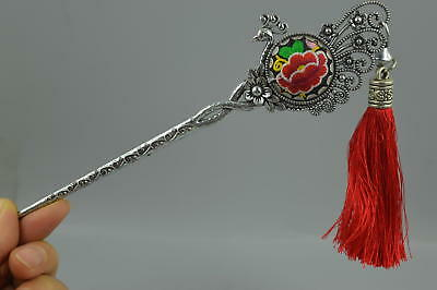 AAA Decor Fine China Tibet Silver Carve Flower Embroidery Rare Noble Hairpin