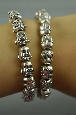 AAA Old Decor Tibet Silver Carve Double-Face Buddha Head Lucky Pair Bracelet