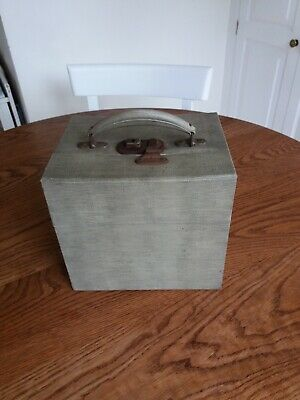 "VINTAGE 1950s/1960s COATED WOOD 7"" VINYL SINGLE EP STORAGE BOX - CARRYING CASE"