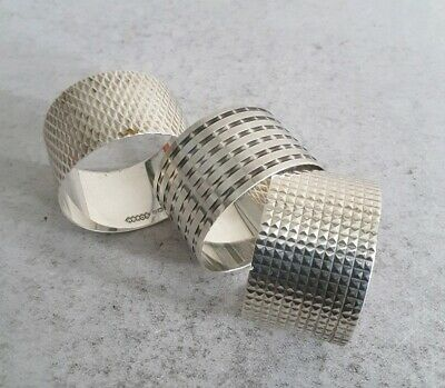 3  Stylish Vintage Solid Silver Napkin Rings.        57Gms.      Birm. 1968- 72.