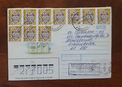 Moldova - 1994 Cover with ten 0.01l Crest Stamps