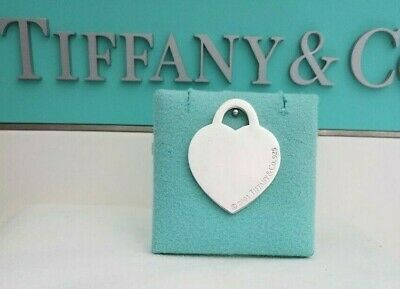 Tiffany & Co Sterling Silver LARGE Blank Heart Tag Pendant Charm