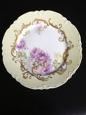 Antique Haviland Limoges France Cabinet Plate Hand Painted Purple Flowers,Signed