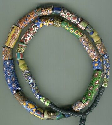 African Trade beads glass Vintage Venetian old glass millefiori mix chipped