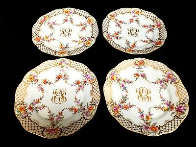 4 Antique Dresden Hand-Painted Cabinet Plates Multi-Floral, Raised Gold Scrolls