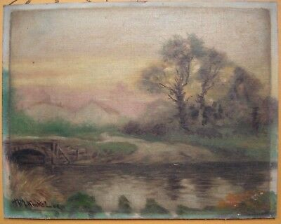 Antique landscape Oil Painting on board (signed lower left)
