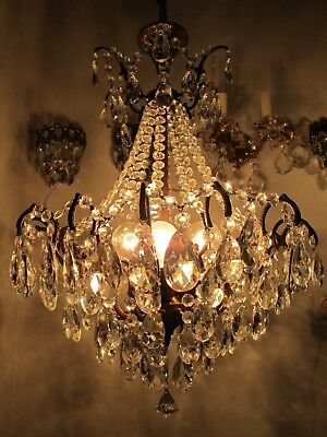 Antique Vnt French Big Spider Style Bohemian Crystal Chandelier 1940s 19in dmtr-