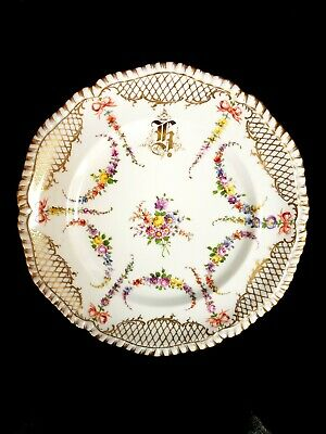 Antique Dresden Hand-Painted Cabinet Plate Multi-Floral, Raised Gold Scrolls
